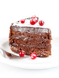 Chocolate cake with berry Royalty Free Stock Image