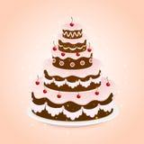 Chocolate cake. Birthday chocolate cake with cherries on pink background, illustration Stock Photo