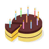 Chocolate cake birthday. Festive candles on pie. Stock Photography
