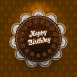 Chocolate cake with birthday wishes Stock Image