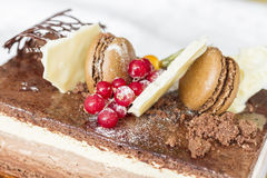 Chocolate cake with biscuits and berries berries Stock Photos