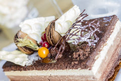 Chocolate cake with biscuits and berries Royalty Free Stock Photos