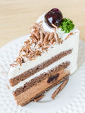 Chocolate cake with black cherry Royalty Free Stock Photo