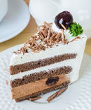 Chocolate cake with black cherry Royalty Free Stock Image