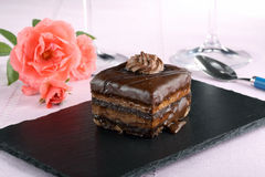Chocolate cake on black stone Royalty Free Stock Photos