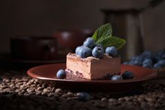 Chocolate cake with blueberries and mint stock image