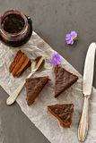 Chocolate  cake. Chocolate cake  and blueberry jam with purple flowers Royalty Free Stock Image