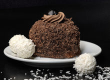 Chocolate cake with bounty balls  Stock Photography