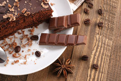 Chocolate cake  in a bowl on a wooden boards background Stock Image
