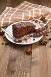 Chocolate cake  in a bowl on a wooden boards background Stock Photography