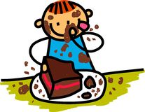 Chocolate Cake Boy. Whimsical cartoon illustration of a happy little boy eating chocolate cake Stock Images