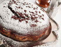 Chocolate Cake at Breakfast. Royalty Free Stock Images