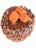 Chocolate cake - brown cake. Chocolate cake on white background Royalty Free Stock Image