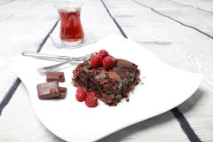 Chocolate cake (Brownie). Chocolate pie brings positive energy and makes us happier Royalty Free Stock Photography