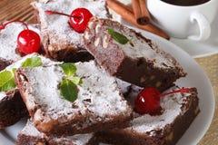 Chocolate cake brownie with walnuts and coffee. horizontal Stock Photo
