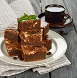 Chocolate cake brownies Royalty Free Stock Images