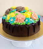 Chocolate cake with buttercream flowers Royalty Free Stock Photo