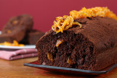 Chocolate cake with candied orange peel Royalty Free Stock Image