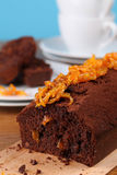 Chocolate cake with candied orange peel Royalty Free Stock Photos