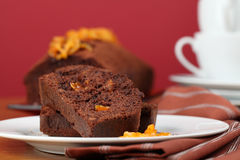 Chocolate cake with candied orange peel Stock Photography