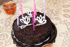 Chocolate cake with candles Stock Image
