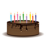 Chocolate cake and Candles cartoon of Holiday on white background. Stock Image