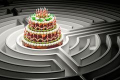 Chocolate cake with candles inside labyrinth maze, 3D rendering. Chocolate cake with candles inside labyrinth maze, 3D Royalty Free Stock Photo