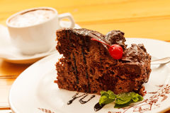 Chocolate cake with cappuccino Stock Image