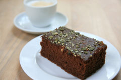 Chocolate cake and cappuccino Royalty Free Stock Photography