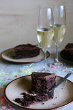 Chocolate cake and champagne Royalty Free Stock Photos