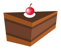 Chocolate cake with cheery. Illustration vector illustration