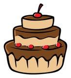 Chocolate cake cherries Stock Image