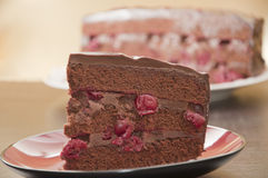 Chocolate cake with cherries. On plate Stock Photos