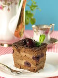 Chocolate cake with cherries Stock Images