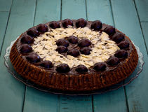 Chocolate Cake With Cherries And Almond Royalty Free Stock Image