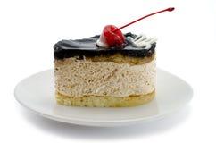 Chocolate cake with cherries close-up stock photos