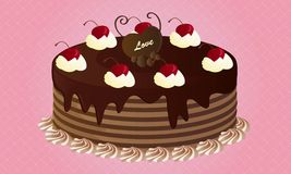 Chocolate Cake With Cherries. Lovely chocolate cake with cherries topping on pink background Stock Photo