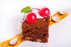 Chocolate cake with cherries Royalty Free Stock Image