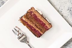 Chocolate cake with cherries served on the square white plate royalty free stock photography
