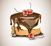 Chocolate cake and cherries. Chocolate cake with chocolate topping, nougat and cream, and red cherries Stock Image