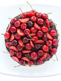 Chocolate cake with cherries. Stock Photo