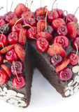 Chocolate cake with cherries. Stock Images