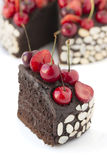 Chocolate cake with cherries. Stock Image
