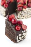 Chocolate cake with cherries. Stock Image