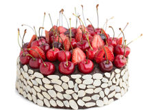 Chocolate cake with cherries. . Stock Photos