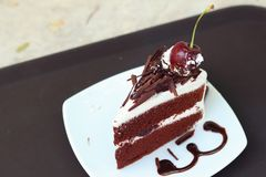 Chocolate cake with cherries on white dish. Royalty Free Stock Photos
