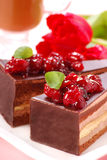 Chocolate cake with cherry Royalty Free Stock Photography