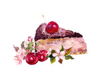 Chocolate cake with cherry berry and flowers. Watercolor Royalty Free Stock Photos