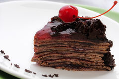 Chocolate cake with cherry Stock Images