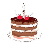 Chocolate cake with cherry and candle Royalty Free Stock Images